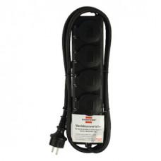 STOPCONTACTVERDELER IP44 4-VOUDIG ZWART 2M H07RN-F 3G1,5