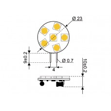 LEDLAMP LED6 10-30V G4-SIDE